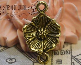 Set of 8 QZW081 charms, connector, Bronze, flowers