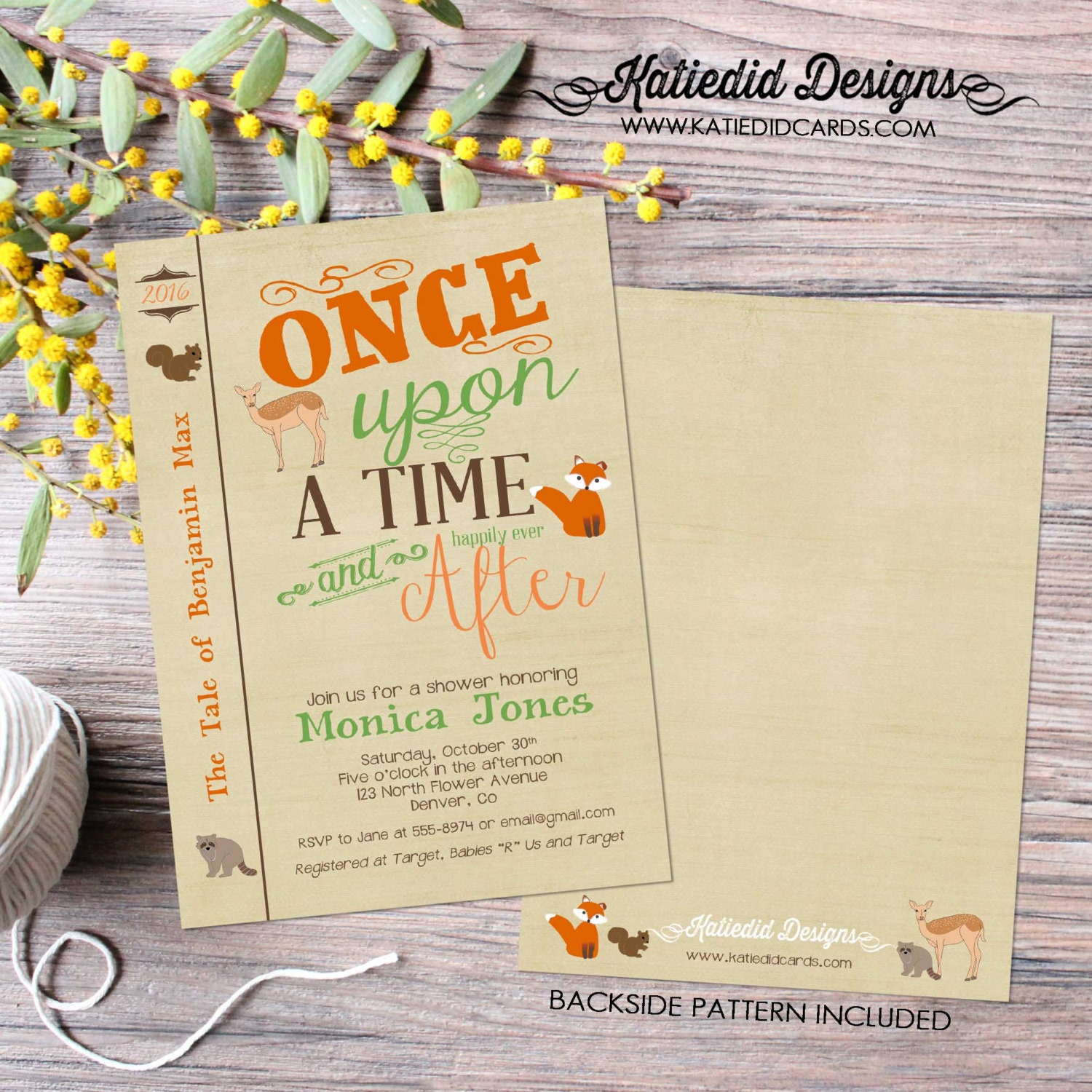 woodland baby shower invitation once upon a time storybook library ...