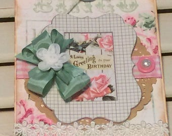 Shabby Birthday Card, Shabby Vintage Style Card, Embellished Card, Greeting Card, OOAK