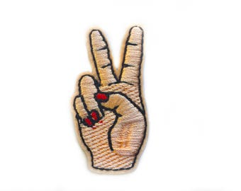 Hippy Hippie Patches - V Sign Patches - Peace Sign Patch - Hand Love Patch -  Applique Patches - Emroidered Patches - Friends - Love Patches