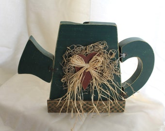 Wooden Watering Can with Heart