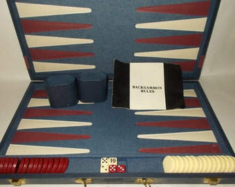 Vintage Backgammon Board Game Red and White Checker Chips and Playing Points Blue Case with Red Strip Extra Large Game Board