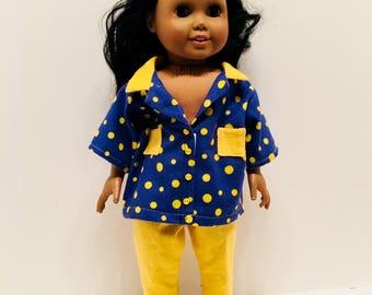 "DN13- 18"" Doll Pyjama Outfit: soft yellow-on-blue polkadot pyjama set for Maplelea and American Girl"
