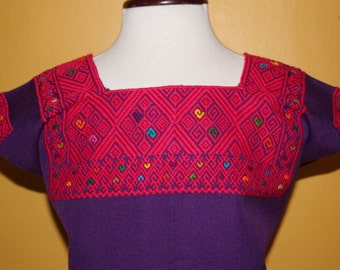 Baby Cotton Hand embroidered Huipil Purple (3-4 Years)- Boho- Mexican Clothing- Children's Clothing