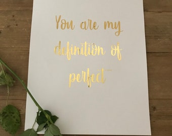 Gold foil poster print 'you are my sunshine' quote
