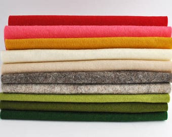 100 Percent Wool Felt Sheets - 10 pieces - 'Sugar and Spice' collection, Christmas wool felt squares