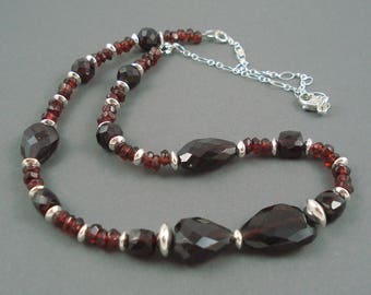Garnet Necklace with Large Nuggets of Garnet and Sterling Silver, Jewelry Garnet Necklace