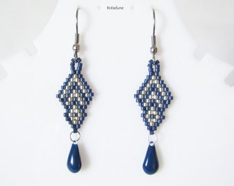 Beaded earrings blue beads and silver, brass hook