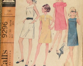 Mod Sleeveless or Puff Sleeved Short Yoked Juniors Dresses 1960s Vintage Sewing Pattern MCCALLS 9296