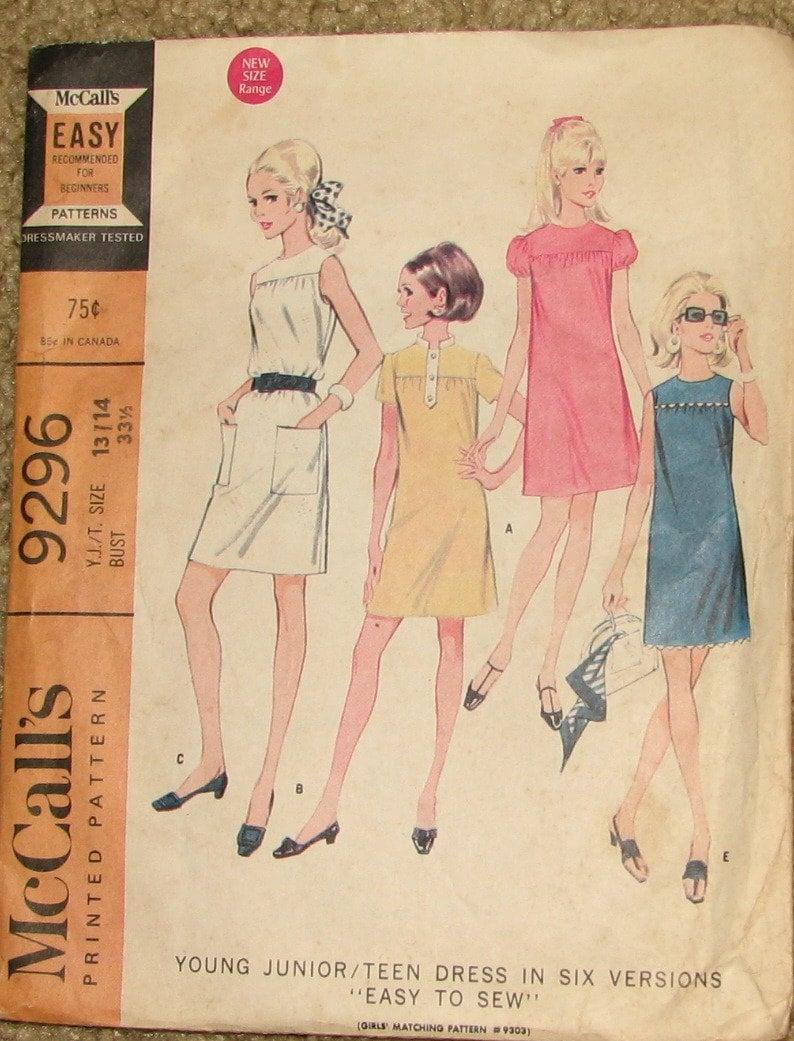 f4f0c998aa0 Mod Sleeveless or Puff Sleeved Short Yoked Juniors Dresses 1960s Vintage  Sewing Pattern MCCALLS 9296 from StillSewStylish on Etsy Studio