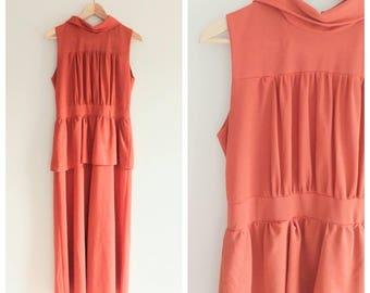 Vintage 1970s 70s does 40s Peplum Dress Rust Orange Coral Maxi Long Gowns