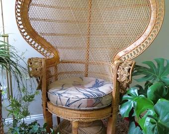 Vintage Emmanuel Peacock Chair   Scrolled Arms   Wicker Rattan Fan Chair    Boho Decor