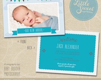 5x7 Birth Announcement Template (Baby Announcement) - Photoshop Template for photographers (BA2B) - INSTANT DOWNLOAD