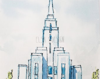 Oquirrh Mountain LDS Temple - Watercolor Temple 5x7 Print signed by Elsa Ferre