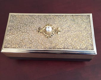 Vintage Embossed Silver-Tone Music/Jewelry Box