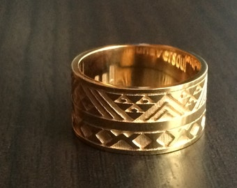 Amafu Ring,  African Wax Print Fabric inspired design, unisex, wide band ring, MADE-TO- ORDER, for Women and Men