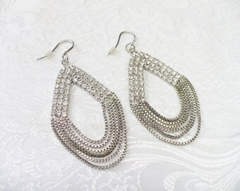 Outstanding Vintage Silver Chain/RHINESTONE Earrings- silver tone metal - moveable chains - top is all rhinestones - pierced dangles- bridal