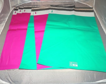 100 Hot Pink and Teal 14.5x19 Poly Mailers, Flat Poly Mailing Shipping Bags, Pink, Colored Poly Mailer Shipping Envelope Poly Shipping