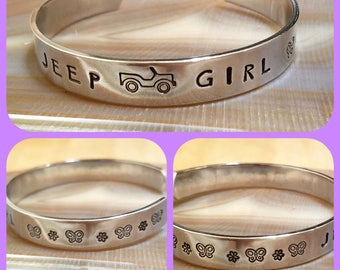 Jeep Girl butterfly and flowers OIIIIIIIO hand stamped and polished aluminum cuff bracelet
