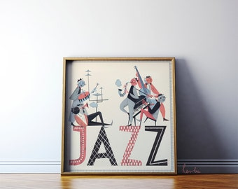 Jazz illustration art. Retro vintage giclée print. 50x50cm Music poster. Cats playing jazz