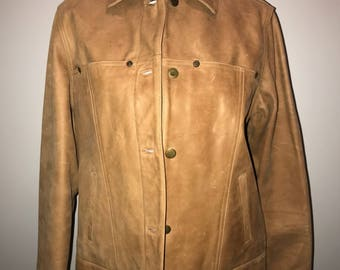 Vintage 90's Tan Leather Jacket / size small / by Talbots