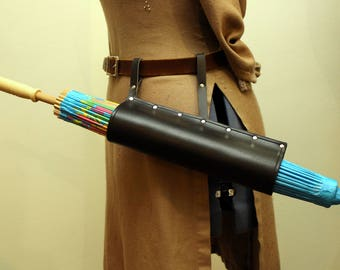 Black Steampunk Leather Parasol Holster