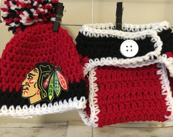Chicago Blackhawks hat, Chicago Blackhawks baby hat, newborn Chicago Blackhawks hat. Blackhawks diaper cover, Blackhawks baby hockey gifts