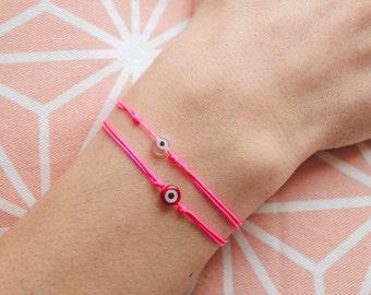 evil eye string bracelet / neon pink string bracelet / evil eye bracelet/ neon pink bracelet with evil eye/ lucky charms bracelet
