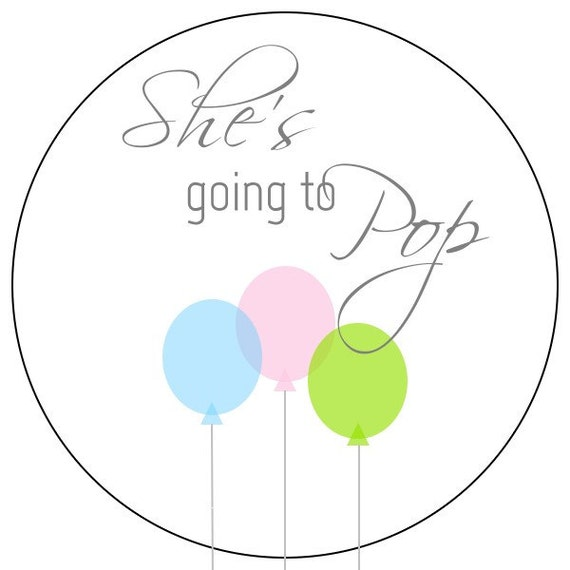 Shes going to pop stickers rainbow baby balloon stickers pink and blue baby shower labels pink blue green balloon baby stickers from