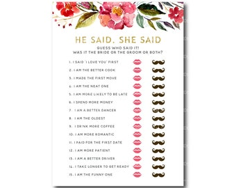 He Said, She Said Bridal Shower Game | Wedding Shower Game | Printable Shower Shower Game | Pink Floral Bridal Shower | 2533