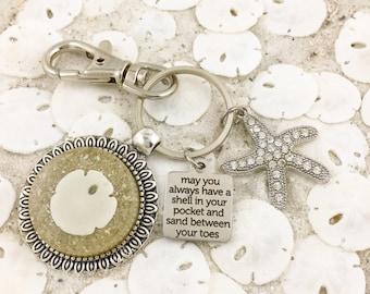 Sand Dollar Seashell Keychain - Beach Keychain - Shell Keychain - Beach Purse Charm - Key Fob - Florida - Always Have a Shell in Your Pocket