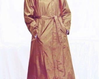 70er Jahre Nylon Trenchcoat / Puffärmel / minimalistischen Graben / Armee grün / Nylon Regenmantel / s - l