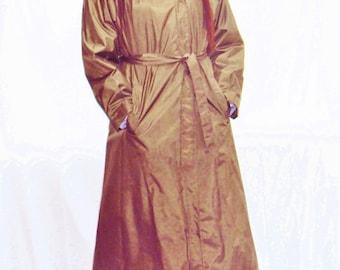 70s nylon trench coat / puff sleeves / minimalist trench / army green /  nylon raincoat / s - l