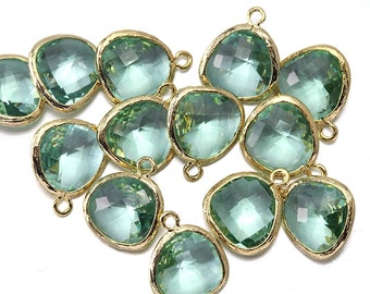 10% OFF (10 Pieces) . Erinite Glass Pendant .  Wholesale Jewelry Supply . 16K Polished Gold Plated over Brass - AG001-PG-EN