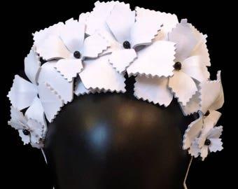 Black & White Crown, Ladies Crown, Racing Crown, Headpiece, Wedding Hair Accessories, Black and White Fascinator, White Floral Crown - ALEX