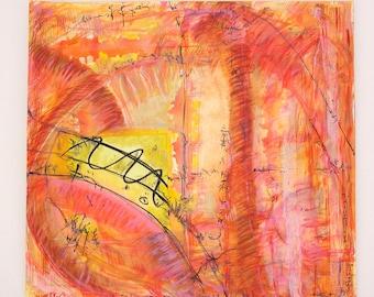 Original Abstract Painting. Modern wall art. Acrylic, watercolor, ink, mixed media. 50x46cm
