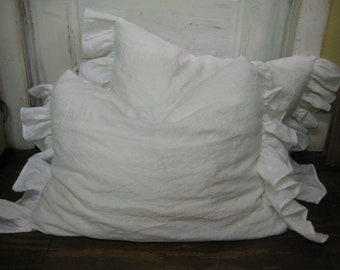Side Ruffle Pillow Sham -Washed Vintage White Linen-Single Pillow Sham-One Pillow Sham of Washed Linen-Side Ruffle Sham in Your Size Choice