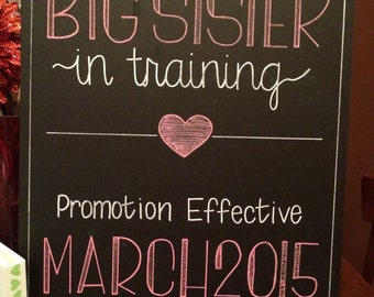 Sibling Pregnancy Announcement Hand Painted Chalkboard Poster