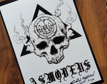 the seal of asmoday asmodeus-dark art-goth-nugoth-wrath-lust-demon-alchemy-macabre-horror art-gift-wall print-art print-gothic