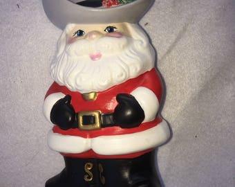 Vintage Ceramic Cowboy Western Santa Claus