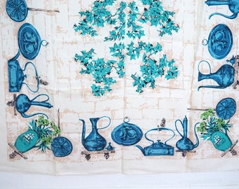 Vintage 60s Tablecloth White Turquoise Kitchen Rustic Tools