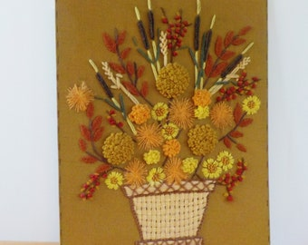 Vintage Crewel Work • Basket of Fall Flowers • Dimensional Flowers Cattails