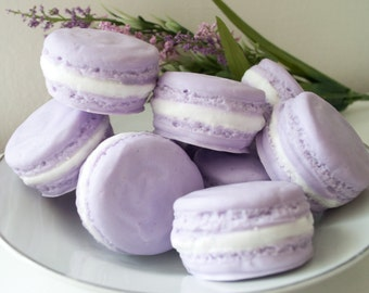 Food Soap gift set - Two Lavender Macarons - French Macaron Soap - French Macaroon - pastel lavender purple