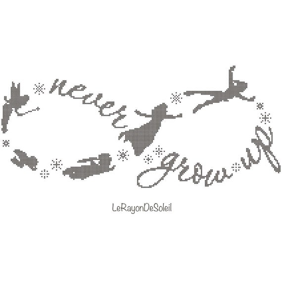 Peter Pan Cross Stitch Pattern Infinity Symbol And Text Never