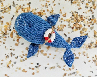Crochet whale, small whale Blue whale, made by hand, the author's scheme of knitting, author's toy