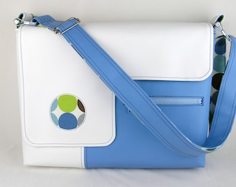 SALE! Vegan Laptop Bag in White and Sky Blue, faux leather laptop bag