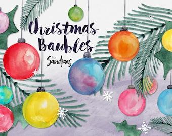 Christmas clip art, hand painted Christmas ornaments, watercolor clip art