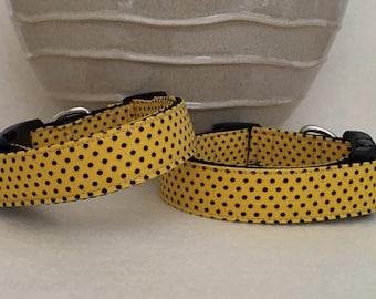 Dog Collar - Yellow w Black Dots