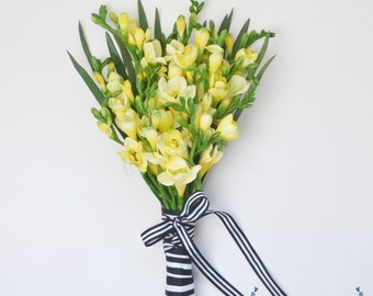 Yellow Bouquet - Boho Bouquet, Yellow Freesia Bouquet, Wildflower Bouquet, Wedding Bouquet, Silk Wedding Bouquet, Silk Flower Bouquet