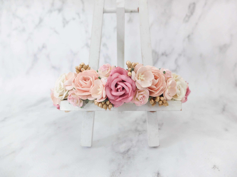 Wedding flower crown dark dusty rose blush pink ivory gold